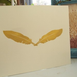 gold-feather-print-linoleum-block-printed-handmade-artwork